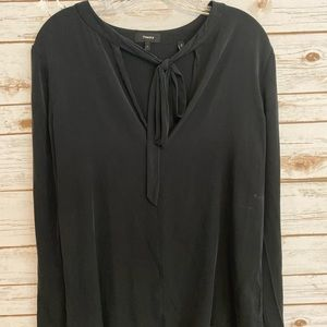Theory Black Silk Pussy Bow Blouse size large